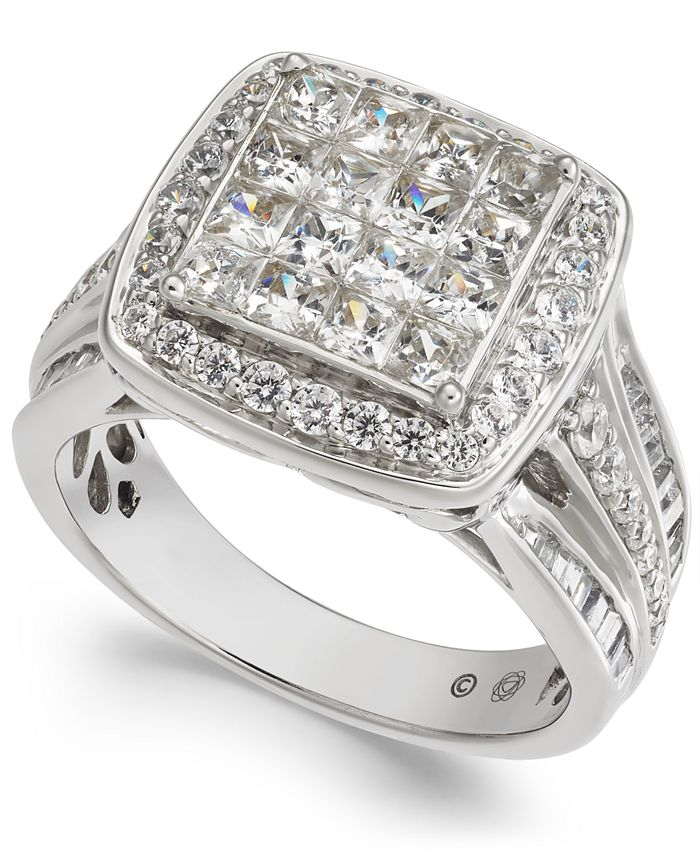 Macy's - Diamond Princess Cluster Halo Engagement Ring (2 ct. t.w.) in 14k White Gold