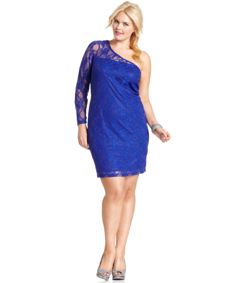 Trixxi Plus Size Dress, One Shoulder Lace