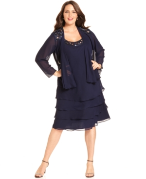 Sl Fashions Plus Size Sleeveless Tiered Sequin Dress and Jacket $129.00 AT vintagedancer.com