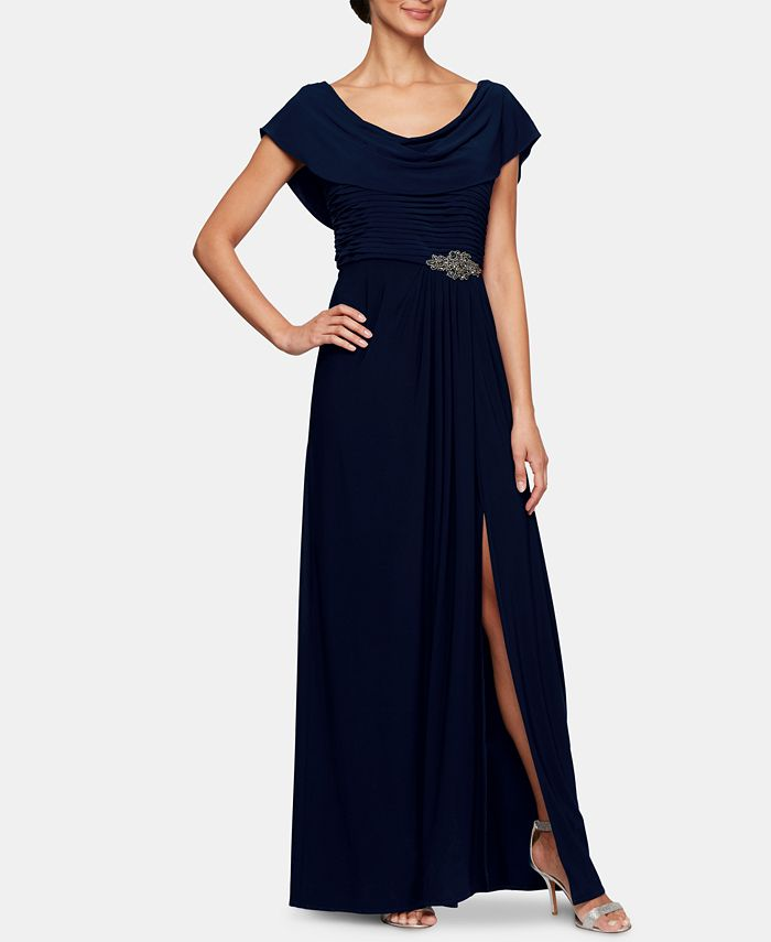Alex Evenings - Embellished-Waist Cowlneck Gown