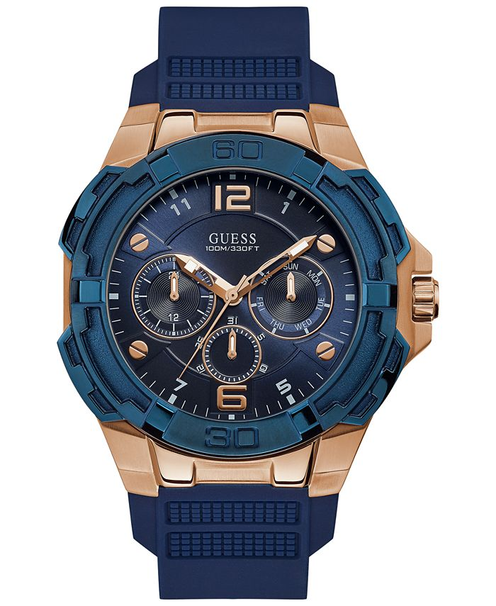 GUESS - Men's Genesis Blue Silicone Strap Watch 51.5mm