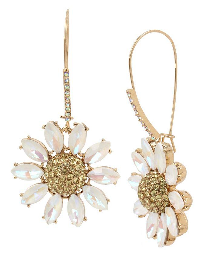 Betsey Johnson - Pave Daisy Flower Long Drop Earrings