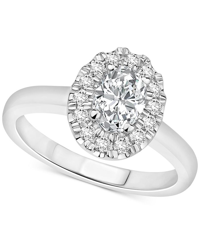 Macy's - Certified Diamond Oval Halo Engagement Ring (1 ct. t.w.) in 14k Gold, 14k White Gold or 14k Rose Gold