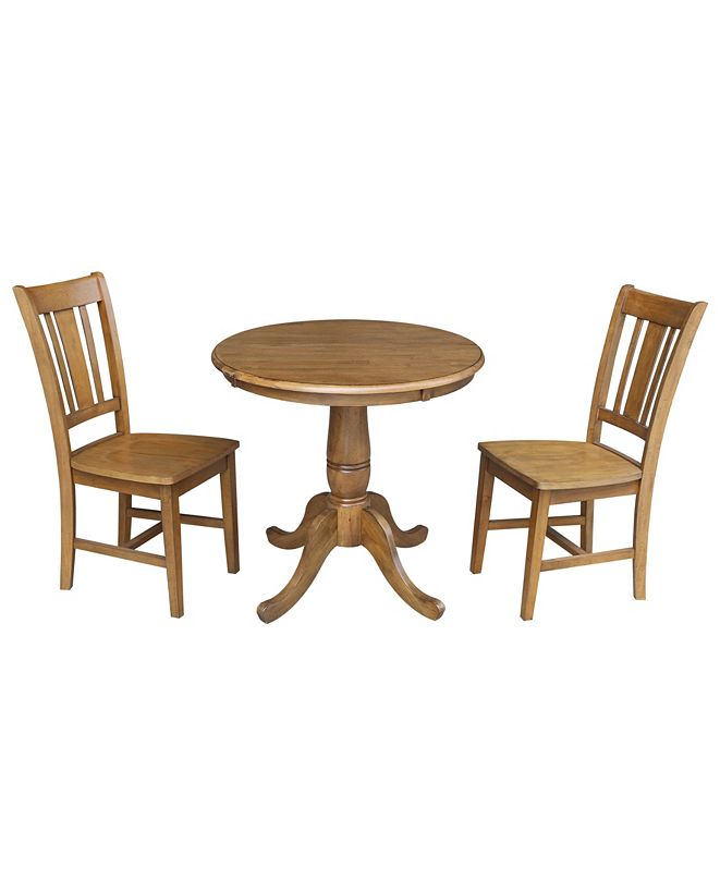 """International Concepts 30"""" Round Pedestalestal Dining Table With 2 Chairs"""