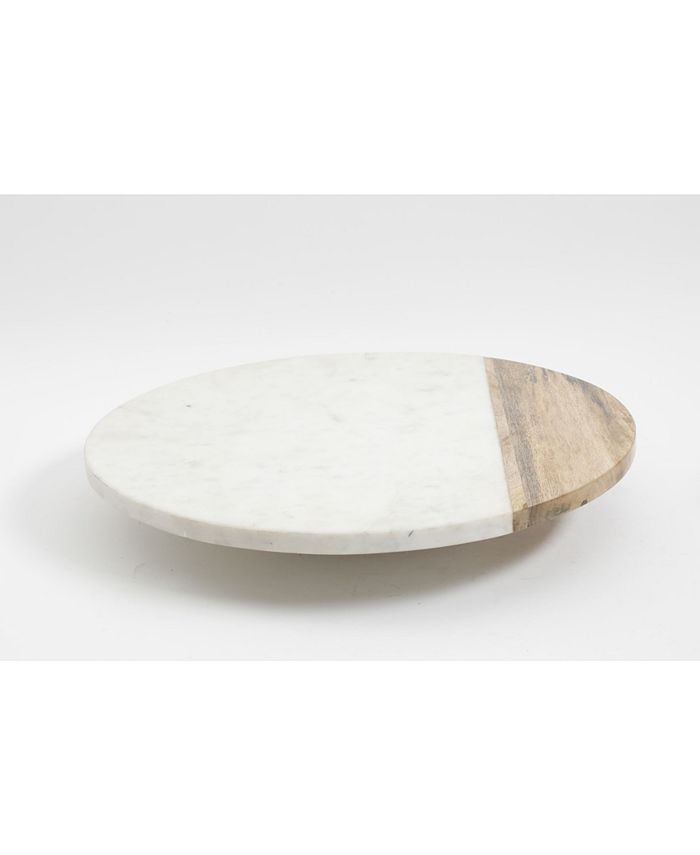 Laurie Gates - Marble and Wood Lazy Susan