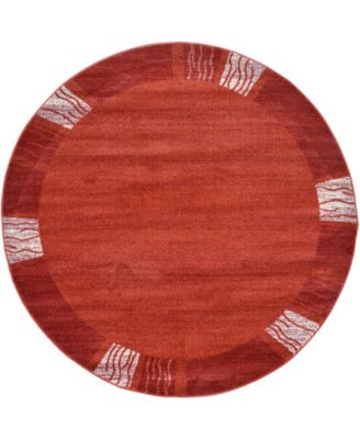 Lyon Lyo1 Rust Red 6' x 6' Round Area Rug