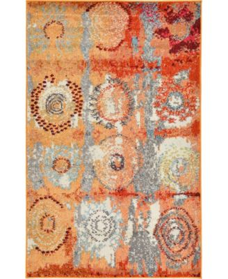 "Newwolf New3 Orange 3' 3"" x 5' 3"" Area Rug"