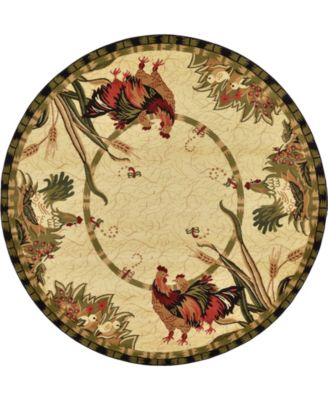 Roost Roo1 Ivory 8' x 8' Round Area Rug