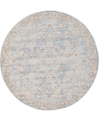 Caan Can7 Light Blue 6' x 6' Round Area Rug