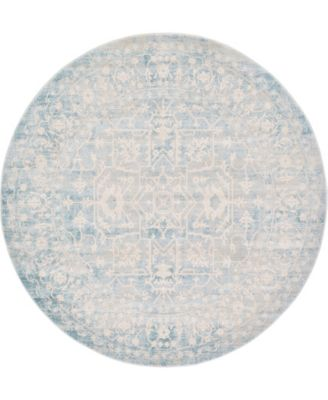 Norston Nor1 Blue 6' x 6' Round Area Rug
