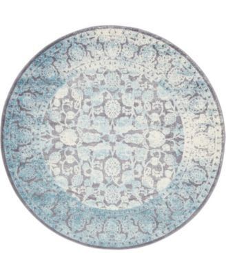 Norston Nor3 Blue 6' x 6' Round Area Rug