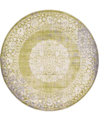 Norston Nor4 Light Green 6' x 6' Round Area Rug