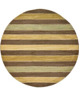Ojas Oja1 Brown 8' x 8' Round Area Rug