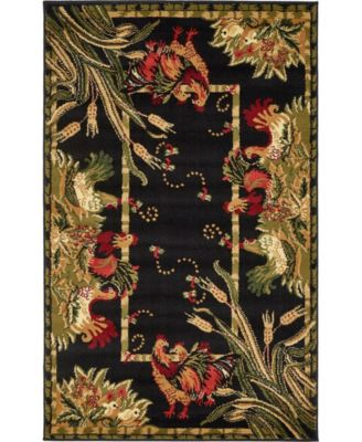 """Roost Roo1 Black 3' 3"""" x 5' 3"""" Area Rug"""
