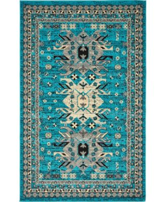 Charvi Chr1 Turquoise 5' x 8' Area Rug