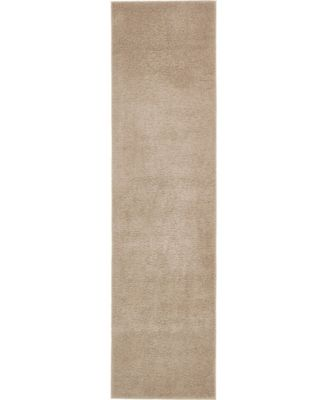 "Salon Solid Shag Sss1 Taupe 2' 7"" x 10' Runner Area Rug"