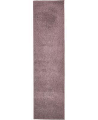 "Salon Solid Shag Sss1 Mauve 2' 7"" x 10' Runner Area Rug"