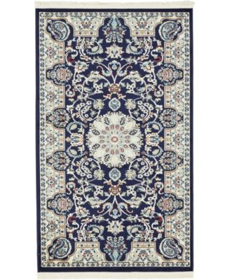 Zara Zar5 Navy Blue 3' x 5' Area Rug