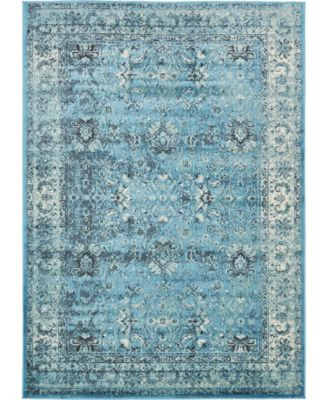 Linport Lin1 Turquoise/Ivory 7' x 10' Area Rug