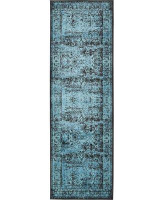 "Linport Lin1 Turquoise/Black 3' x 9' 10"" Runner Area Rug"