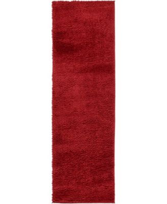 "Salon Solid Shag Sss1 Red 2' x 6' 7"" Runner Area Rug"