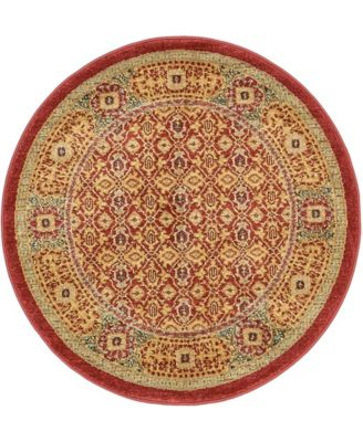 "Wilder Wld7 Red 3' 3"" x 3' 3"" Round Area Rug"
