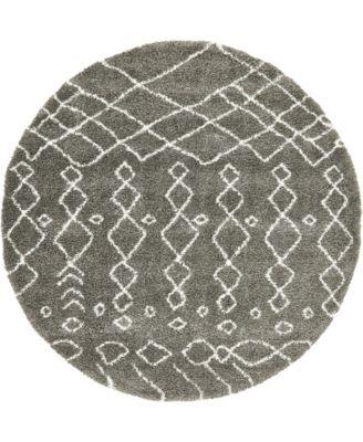 Fazil Shag Faz2 Gray 8' x 8' Round Area Rug
