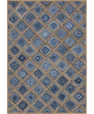 Braided Bsq6 Blue 6' x 9' Area Rug