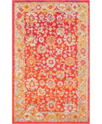 "Lorem Lor3 Red 3' 3"" x 5' 3"" Area Rug"