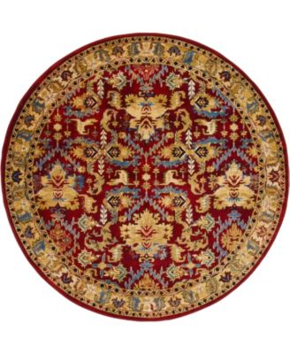 Borough Bor1 Red 5' x 5' Round Area Rug