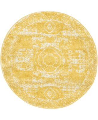 Mobley Mob2 Yellow 3' x 3' Round Area Rug