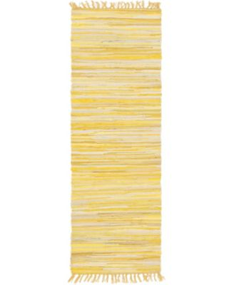 "Jari Striped Jar1 Yellow 2' 7"" x 6' 7"" Runner Area Rug"