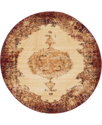 """Thule Thu2 Red 4' 5"""" x 4' 5"""" Round Area Rug"""