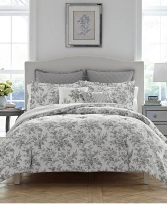 Annalise Floral Shadow Grey Comforter Set, King