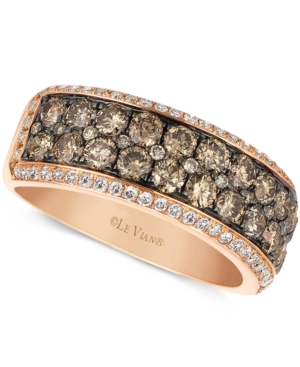 Le Vian 14k Rose Gold Ring, Champagne and White Diamond 2-row Band (1-1/2 ct. t.w.)