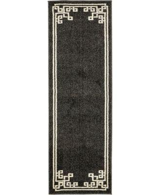 Anzu Anz3 Black 2' x 6' Runner Area Rug