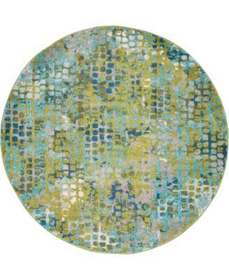 Crisanta Crs4 Green 6' x 6' Round Area Rug