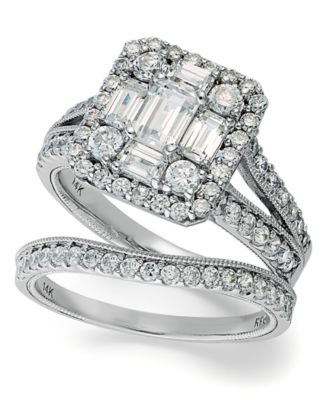 emerelle collection emerald and round cut diamond ring set in 14k white gold 2 - Macy Wedding Rings