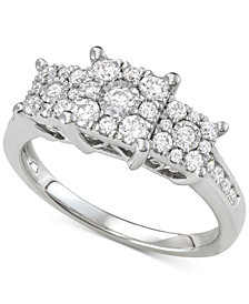 Diamond Princess Triple Halo Engagement Ring (3/4 ct. t.w.) in 14k White, Yellow or Rose Gold