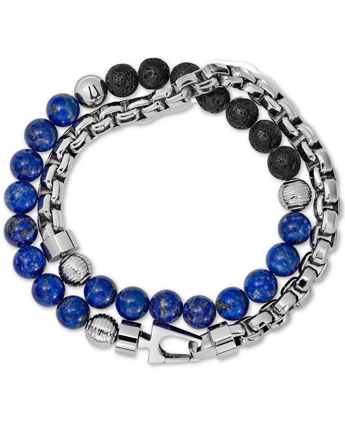 Bulova - Men's Tiger's Eye & Black Lava Bead Bracelet in Stainless Steel