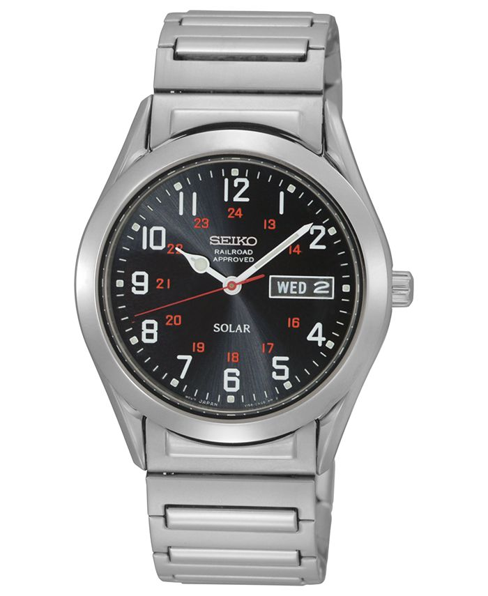 Seiko - Watch, Men's Solar Stainless Steel Expansion Bracelet 38mm SNE179