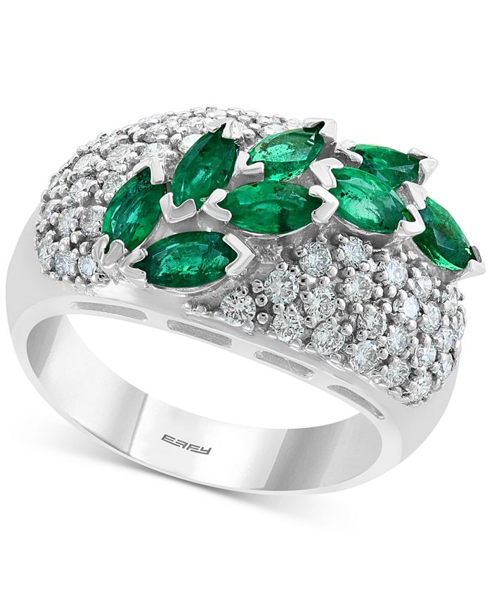 EFFY Collection - Emerald (1-1/4 ct. t.w.) & Diamond (3/4 ct. t.w.) Ring in 14k White Gold