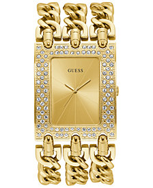 GUESS Gold-Tone Stainless Steel Chain Bracelet Watch 39x47mm