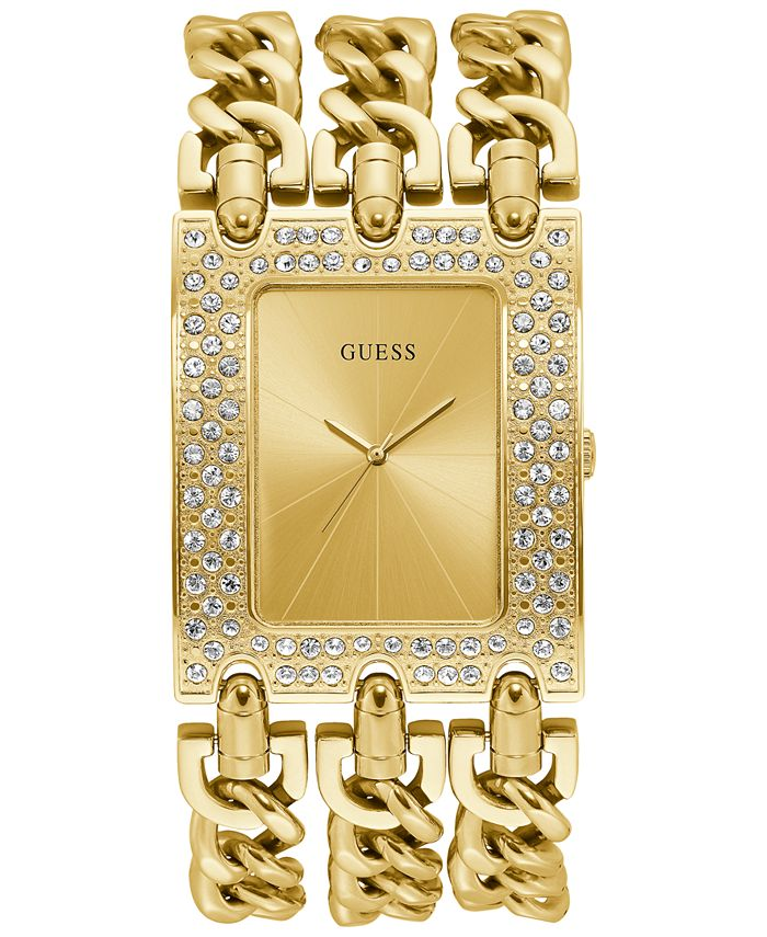 GUESS - Women's Gold-Tone Stainless Steel Chain Bracelet Watch 39x47mm