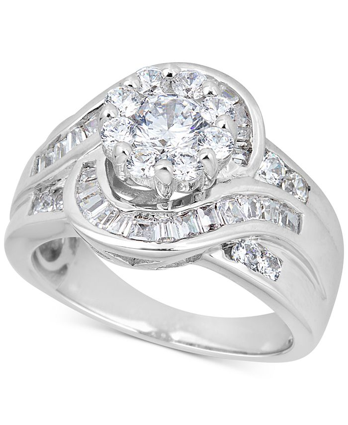 Macy's - Diamond Halo Baguette Engagement Ring (2-1/2 ct. t.w.) in 14k White Gold
