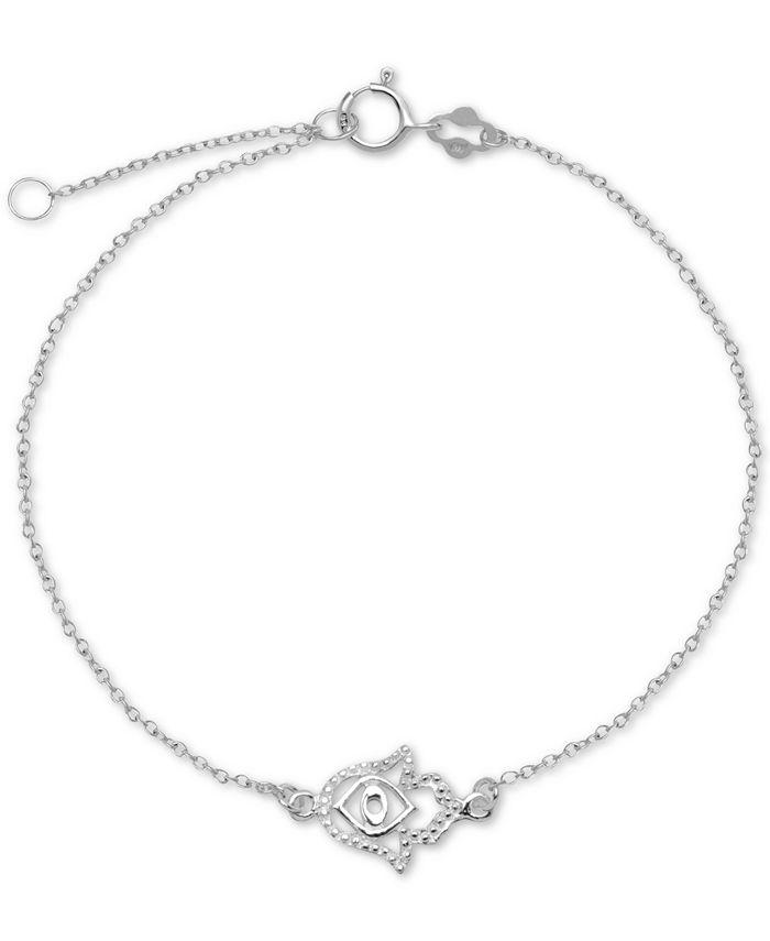 "Giani Bernini - Hamsa Hand Chain Ankle Bracelet in Sterling Silver, 9"" + 1"" Extender"