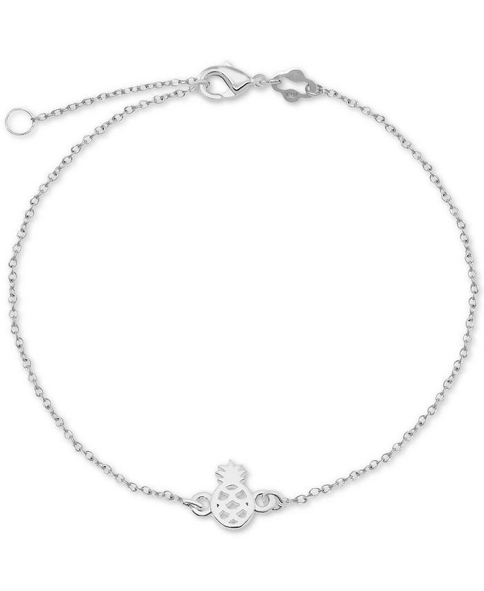 """Giani Bernini - Pineapple Chain Ankle Bracelet in Sterling Silver, 9"""" + 1"""" Extender"""