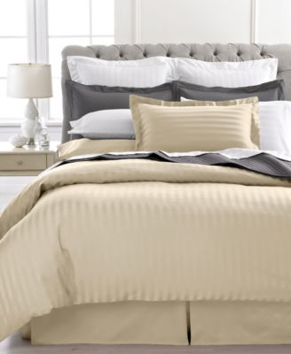 Charter Club Damask Stripe 500 Thread Count Full/Queen Duvet Cover Bedding