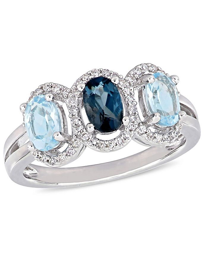 Macy's - Blue Topaz (1-3/5 ct.t.w.) and Diamond (1/5 ct.t.w.) 3-Stone Halo Ring in Sterling Silver