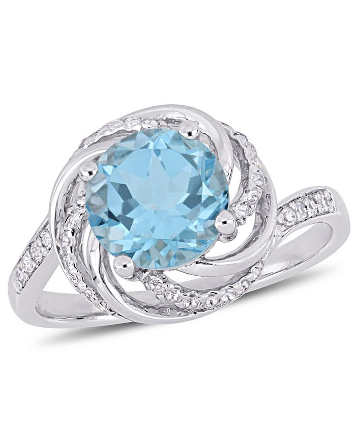Macy's - Blue Topaz (2-1/3 ct. t.w.), White Topaz (1/8 ct. t.w.) and Diamond Accent Interlaced Swirl Halo Ring in Sterling Silver